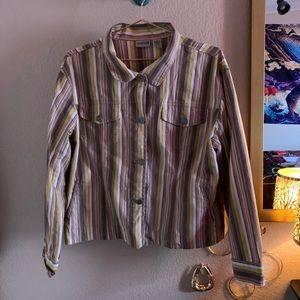vertical striped multicolor jacket w pockets